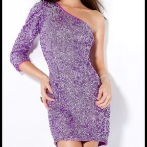Jovani, One Shoulder, Purple Sequin Prom Dress